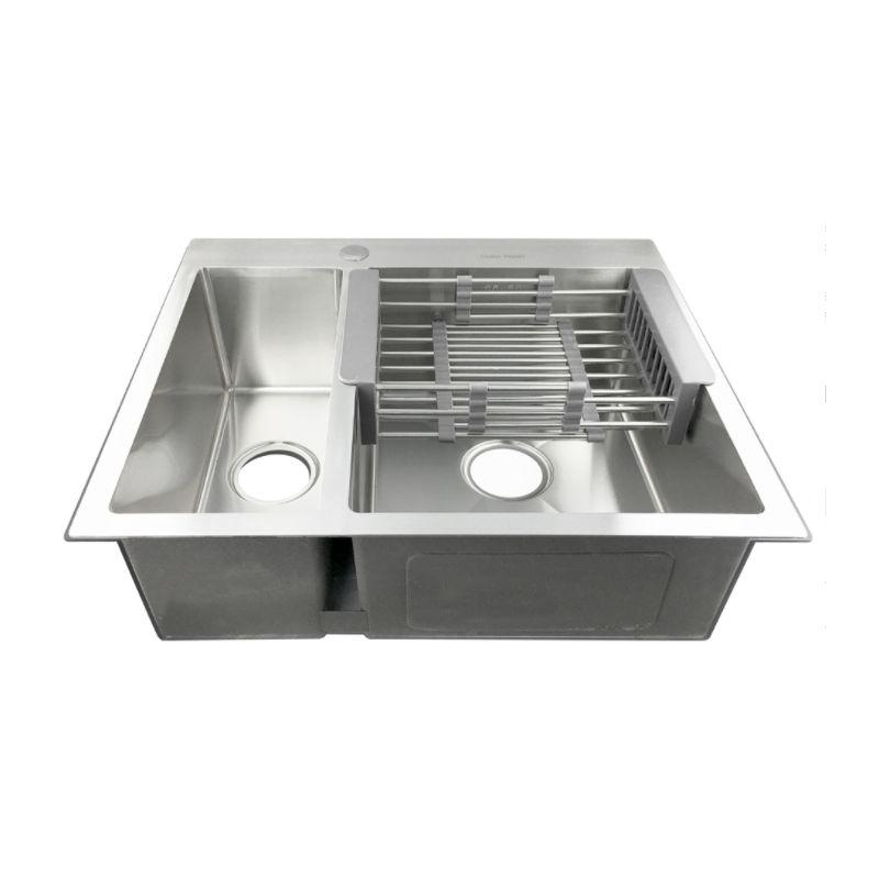 Мойка кухонная FABIA PROFI 61513 врезная нержавеющая сталь матовый хром