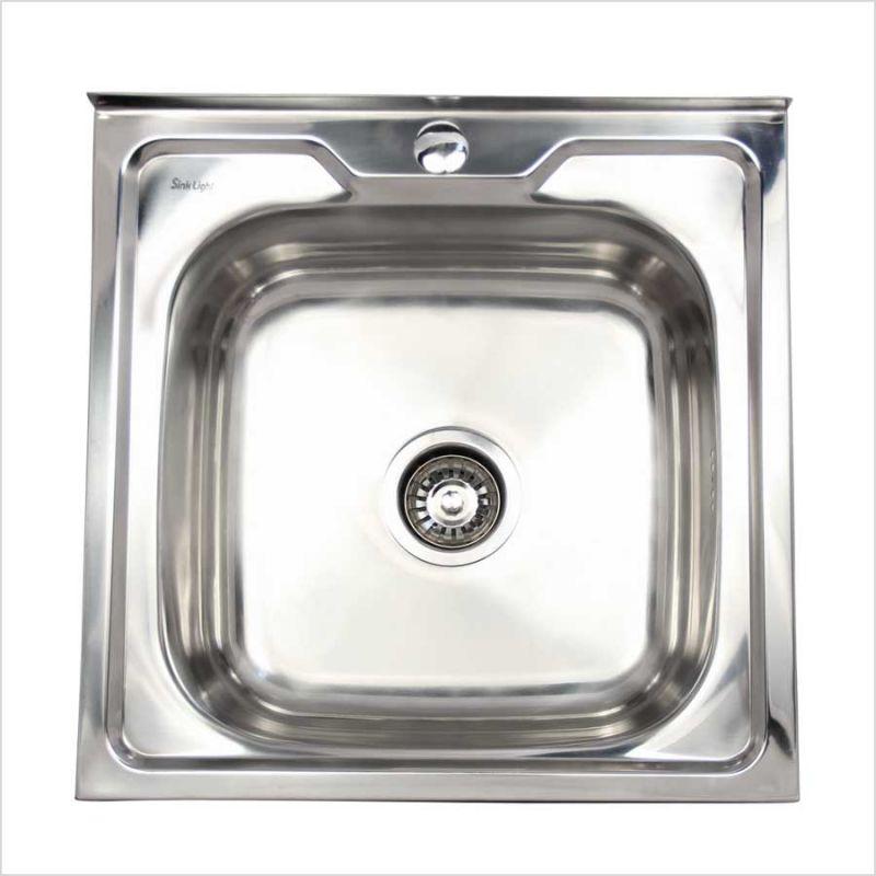 Мойка кухонная Haiba 5050 накладная нержавеющая сталь хром