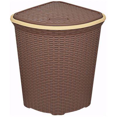 Корзина для белья ротанг 60 л.коричневая угловая.