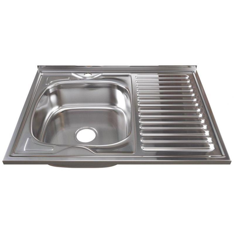 Мойка кухонная Mixline 528016 накладная нержавеющая сталь глянцевый хром