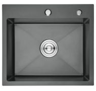 Мойка кухонная GERHANS K35044B врезная нержавеющая сталь серый