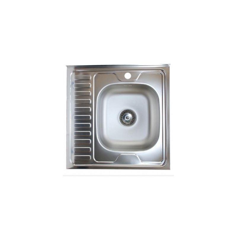 Мойка кухонная KromRus 528015 накладная нержавеющая сталь хром