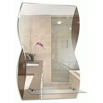 """Зеркало для ванной """"Аква"""" 395х600 с полкой"""