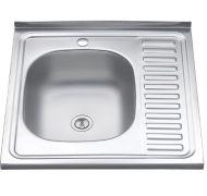 Мойка кухонная Sinklight 6060 накладная нержавеющая сталь матовый хром